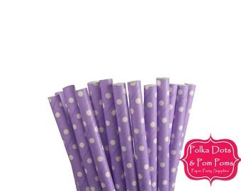 25 LILAC Lavender PURPLE Swiss Polka Dot Paper Drinking Straws / Retro Kids Party Supplies / Wedding