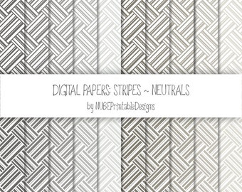 Stripes ~ Neutrals: Grays and Browns ~ Scrapbook Digital Papers 12x12; Striped Seamless Patterns; Scrapbooking; Weaves; INSTANT DOWNLOAD