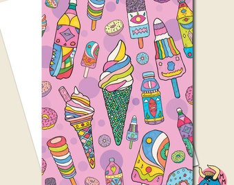 Ice Cream Card, Greetings Card, Birthday Card, Pink Birthday Card, Card For Girls, Bday Card, Cards, Cute Card, Greeting Cards, Girls Card.