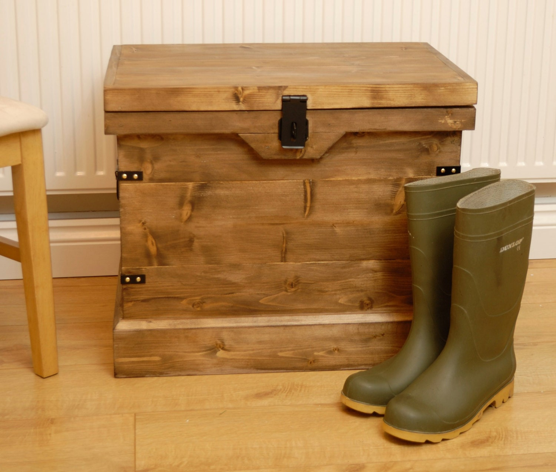 rustic wooden chest trunk wellington boot shoe storage box u0026 seat vintage style