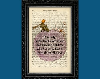 The Little Prince Antique Dictionary print Book Art Le Petit Prince prince original Antique Illustration only with the heart quote (Nº27)