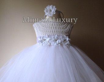 White Flower girl dress, tutu dress, bridesmaid dress, princess dress, crochet top tulle dress, hand knit top tutu dress, white crochet tutu