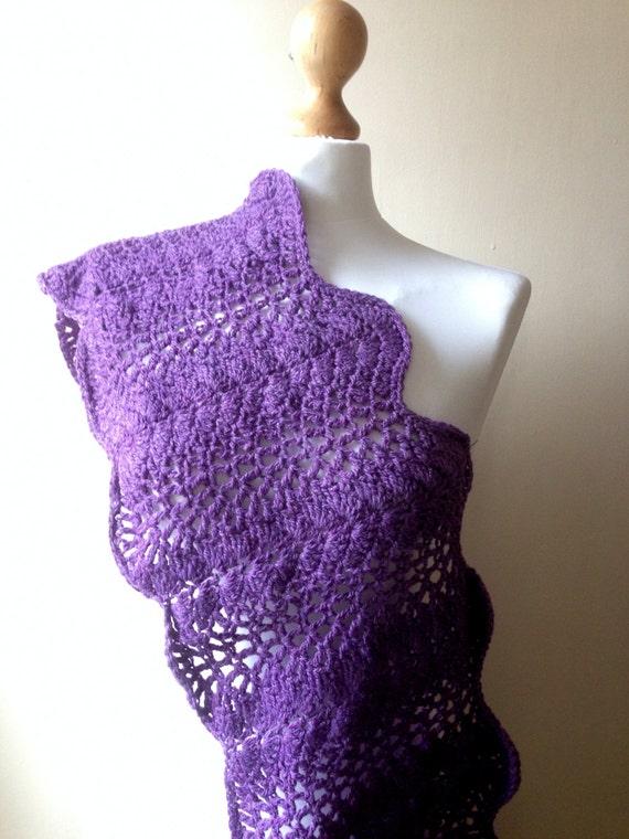 Merino wool Hand Knitted Scarf, Hand crochet cowl, Infinity Purple Wool Scarf, Shawl, Wrap, Neckwarmer