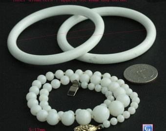 Vintage Milk Glass bangle bracelets and vintage Japanese Milk Glass necklace