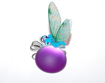 "Fairy wing pendant ""Fairy"" + soft-touch stone round purple"