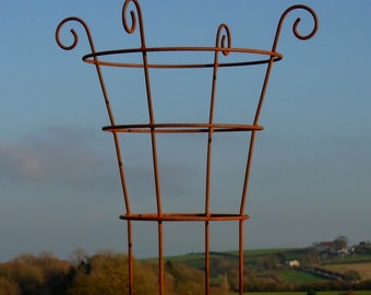 "Hand made rusted metal herbaceous border plant support. ""Sally""."