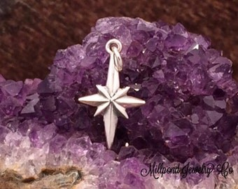 North Star Charm, Star Charm, North Star Pendant, Sterling Silver Charm, Christmas Star, Christ Star,  PS01184
