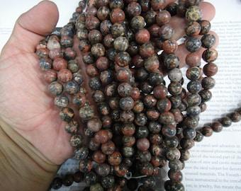10mm leopard skin jasper round beads, 15.5 inch