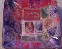 Vintage decoupage postage stamps folk art glass ashtray