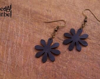 Bicycle inner tube flower earrings