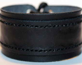 Black  Leather Cuff Bracelet! Nice Gift For Women! Great Handmade Leather  Bracelet! Made in Latvia!