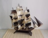 Vintage Ship made of horn / Three-masted Sailboat / Original Russian sailing ship from '80