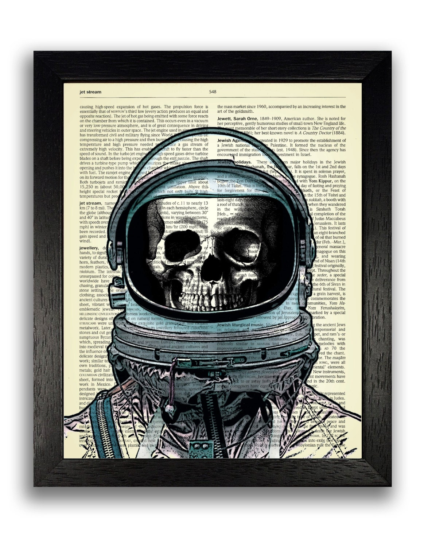 Skeleton Spaceman Art Print Space Poster Dictionary Art