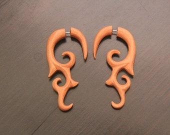 Fake Gauge Wood Earring, Saba Wood Fake Piercing w Tribal Tattoo Design, Organic, Handcarved