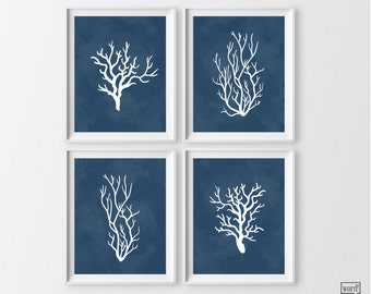 Navy Blue Bathroom Decor 4 Print Set Indigo Blue Coral Nautical Art Print Sea Coral Art Prints Navy Blue Wall Decor Nautical Home Decor