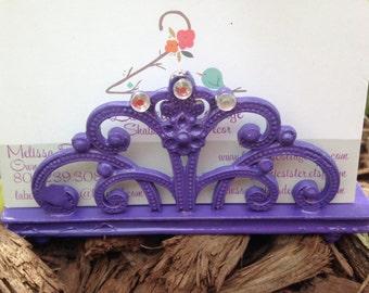 Business Card Holder, Shabby Chic Card Holder, Purple Business Card Holder