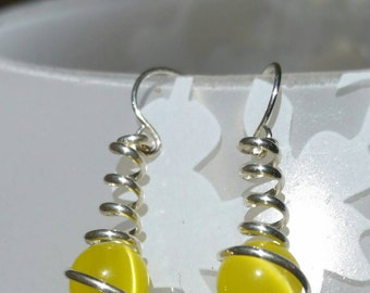 Sterling Silver and Yellow Cat Eye Wire Spiral Wrapped Caged Dangle Earrings