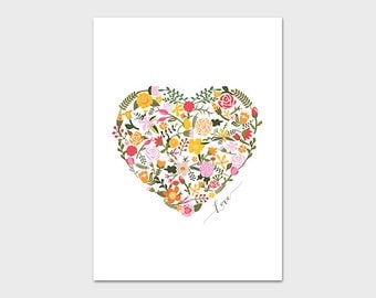 Heart Printable, 5x7, Instant Download, Floral Heart Art Print, Love Art Print, Cottage Chic Decor, Pink Nursery Art, Pink and Yellow Art