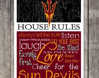 ARIZONA STATE Sun Devils House Rules Art Print