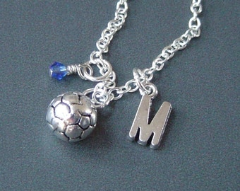 Soccer Ball Charm Necklace, Personalized Antique Silver Initial Monogram Birthstone Soccer Necklace