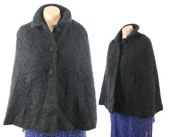50s 60s Faux Fur Cape Black Persian Lamb Outerwear Coat Winter Fashion 1950s 1960s Dressy Dress Medium M Shawl Stole
