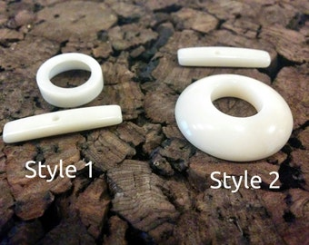Tagua Toggle Clasp made of natural polished Vegetable Ivory / Corozo / Tagua nut