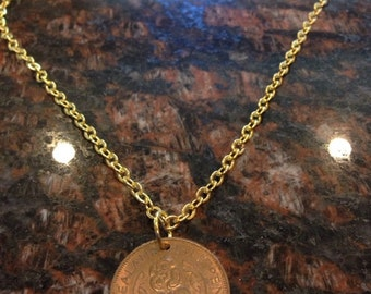 New Zealand Half Penny coin necklace