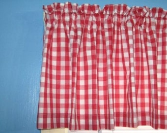 "LINED GINGHAM CHECKED 1"" 1/2""  1/8"" square Red White window Curtain Valance"