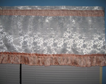 """Handmade SOLID White With 3"""" Wide Coral Trim WHITE SATIN  Window Curtain Valance"""