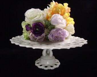 "12"" Westmoreland Doric Milk Glass Cake Stand, Milk Glass Cake Plate, Vintage 1950, Wedding Cake Stand,"
