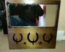Horseshoe coat/hat rack with mirror