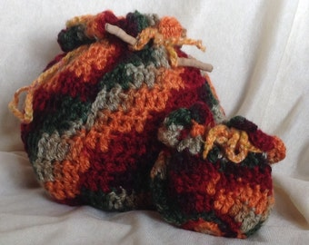 Handmade Multicolored Crocheted Pouch