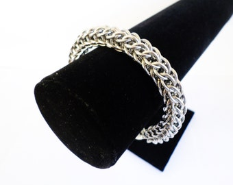 Chunky Stainless Steel Chainmail Bracelet - Full Persian Weave Chain Mail Heavy Cuff