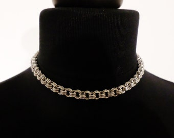Thin Stainless Steel Minimalist 3 in 3 Chainmaille Choker Necklace - Plain Silver Chainmail Collar Chain