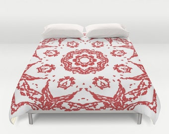 Mandala Duvet Cover - Red and White - Queen Size Duvet Cover - King Size Duvet Cover