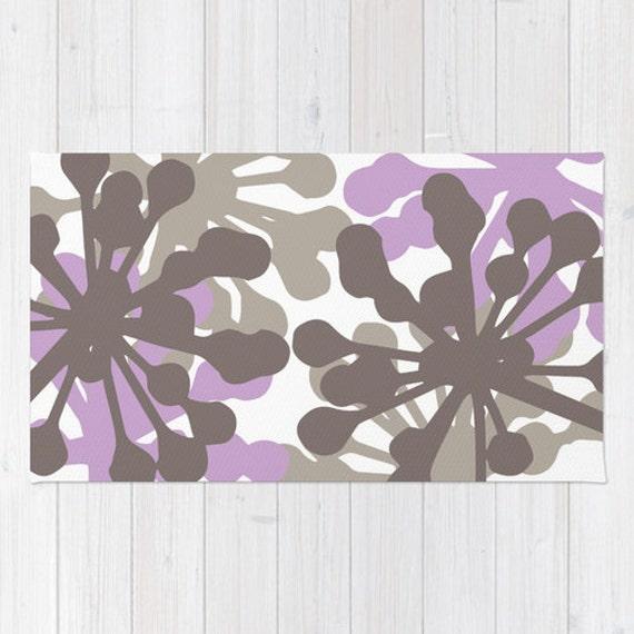 Purple And Lavender Rug: Floral Rug Purple Lavender And Brown Flowers Area Rug