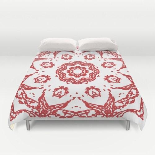 Mandala Duvet Cover Red And White Queen Size Duvet Cover