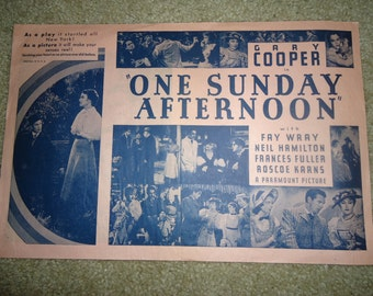 Original One Sunday Afternoon 1933 Herald Pressbook Poster Gary Cooper Fay Wray