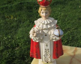 """Large Antique Child Jesus Statue Painted Ceramic Infant of Prague Statue 11.8"""""""