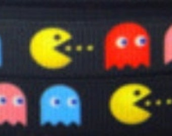 "4 Yards of 3/8"" Pac Man Grosgrain Ribbon"