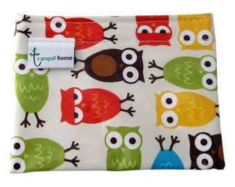 Snack Bag Reusable Food Grade Snack/Food Pouch Owls