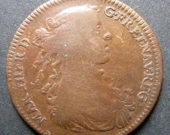 "1667 French Royalty Medal - Maria Theresa Queen of France. Birth of Daughter ""Madame Royale""."