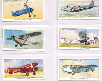British Cigarette Card Set (50 Cards) - Aeroplanes (Civil) Issued In 1935 by Players Cigarettes. Superb Set Of Civil Aircraft of the 1930s