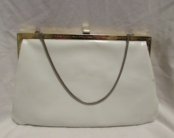 White Leather ETRA Handbag or Clutch - 1950's/60's