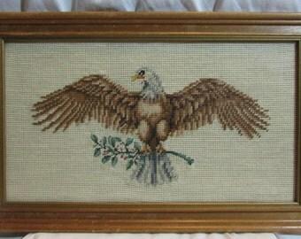 United States Eagle Sampler, framed, under glass, 1970's