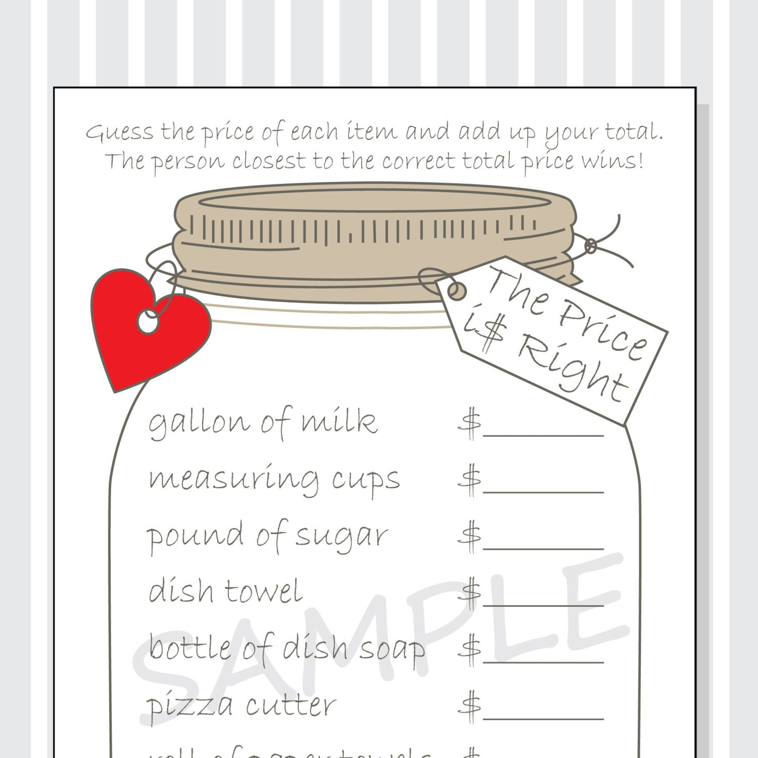 The price is right printable game cards for a bridal shower for Price is right bridal shower game template