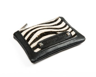 Handmade Leather Coin Purse in Zebra print and black leather, and Leopard print and dark brown leather
