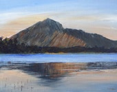 Acrylic painting on canvas. Mountain painting. Seascape painting. Canvas painting. Reflections. Evening.