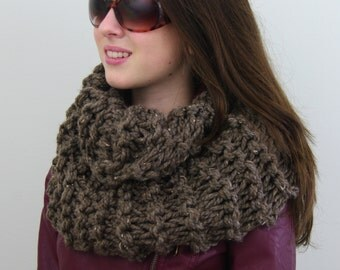 Hand-knitted Chunky Twisted Infinity Cowl Scarf in Barley