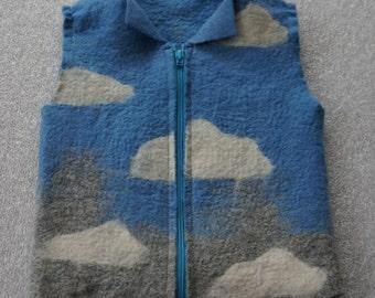 Felt waistcoat . Handmade merino wool vest for baby.